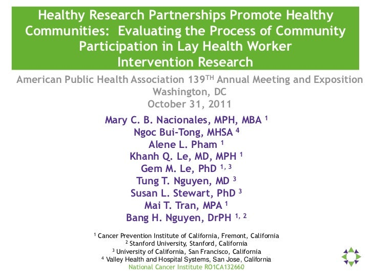 Healthy Research Partnerships Promote Healthy Communities: Evaluating the Process of Community         Participation in La...