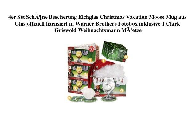4er Set Schöne Bescherung Elchglas Christmas Vacation Moose Mug aus Glas offiziell lizensiert in Warner Brothers Fotobox i...
