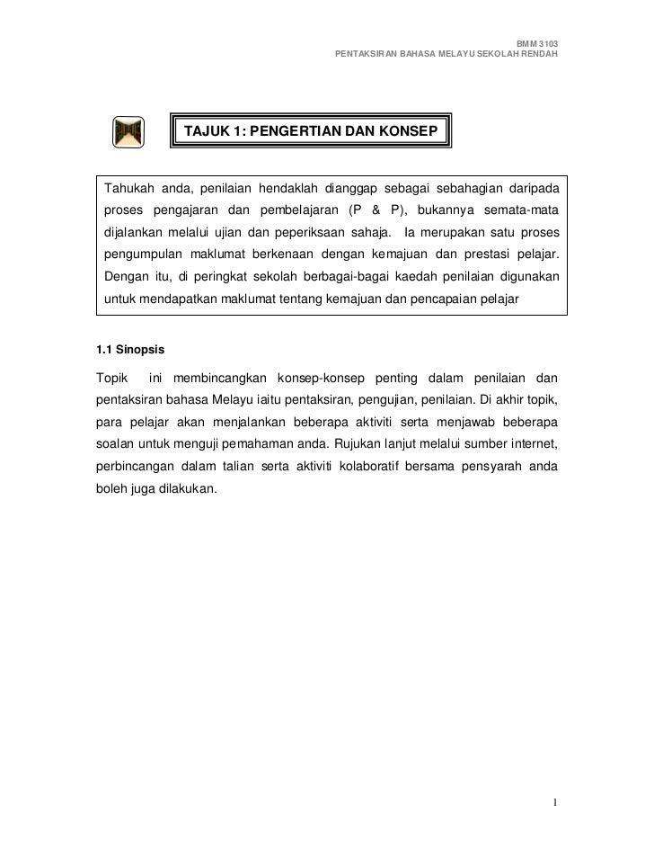 BMM 3103                                           PENTAKSIRAN BAHASA MELAYU SEKOLAH RENDAH                    TAJUK 1: PE...