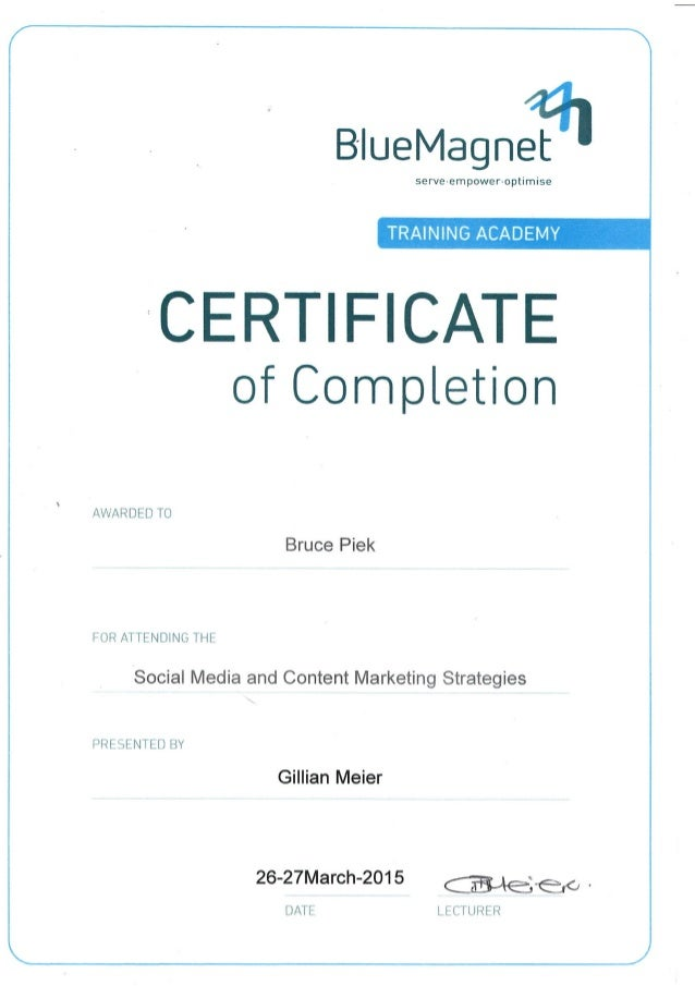 Social Media And Content Marketing Stategies Certificate B Piek