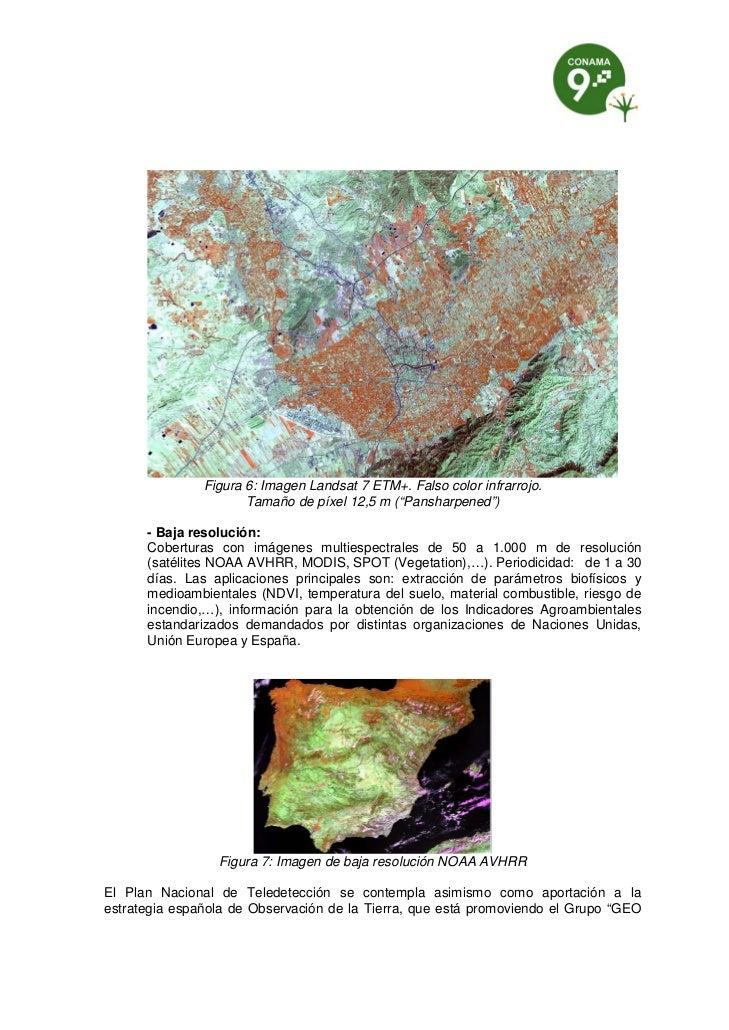 """Figura 6: Imagen Landsat 7 ETM+. Falso color infrarrojo.                      Tamaño de píxel 12,5 m (""""Pansharpened"""")     ..."""