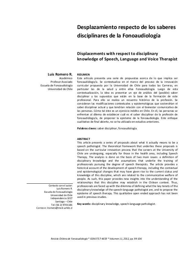 Trastornos del lenguaje en el adulto  7 Revista Chilena de Fonoaudiología * ISSN 0717-4659 * Volumen 11, 2012  Luis Romero...