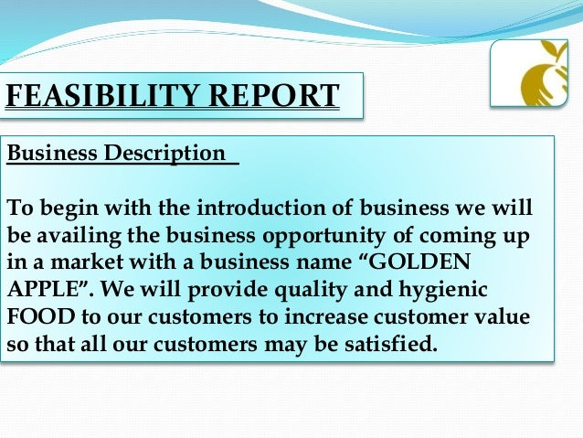 feasibility report for a fast food Are you interested in starting a fast food business do you want to open a fast food restaurant but you don't know how to go about it do you need a sample fast food business plan template or feasibility study report.