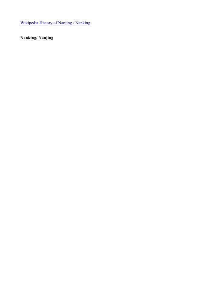 Wikipedia History of Nanjing / Nanking   Nanking/ Nanjing