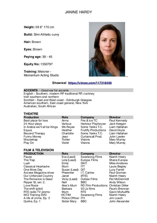 Acting Cv Template Headshot