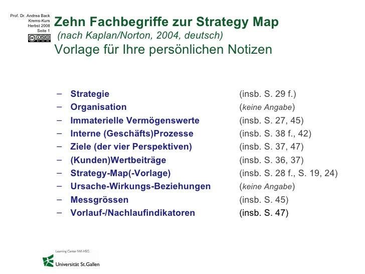 Zehn Fachbegriffe zur Strategy Map  (nach Kaplan/Norton, 2004, deutsch)  Vorlage für Ihre persönlichen Notizen <ul><li>Str...