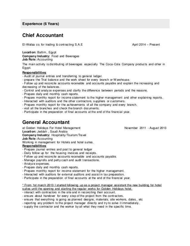 Chief Accountant Cover Letter