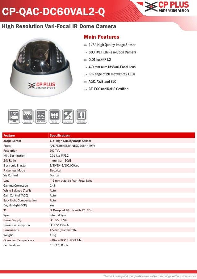 CP-QAC-DC60VAL2-QHigh Resolution Vari-Focal IR Dome Camera                                                               M...