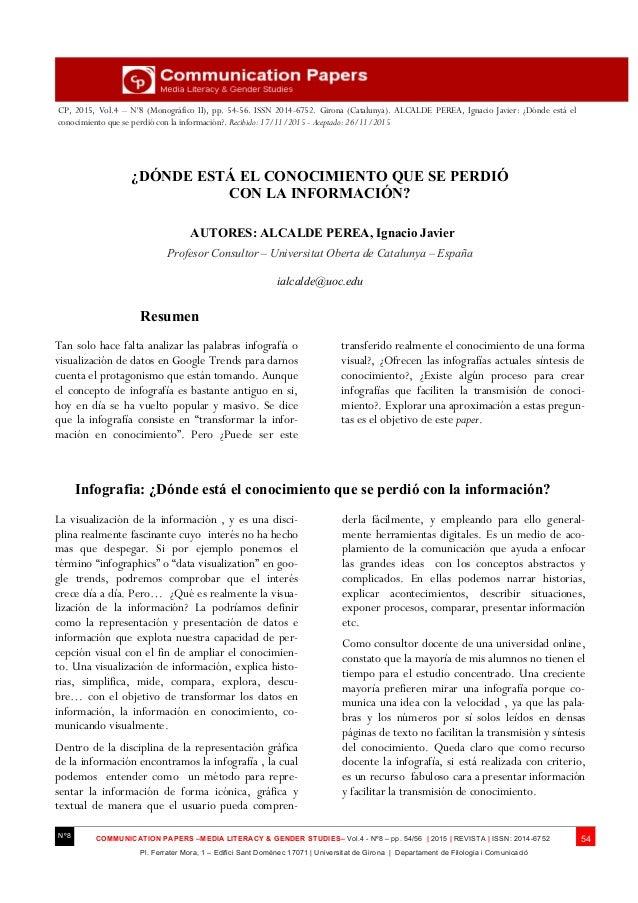 Ciudades Creativas – CP, 2015, Vol.4 – Nº8 (Monográfico II), pp. 54-56. ISSN 2014-6752. Girona (Catalunya). ALCALDE PEREA,...