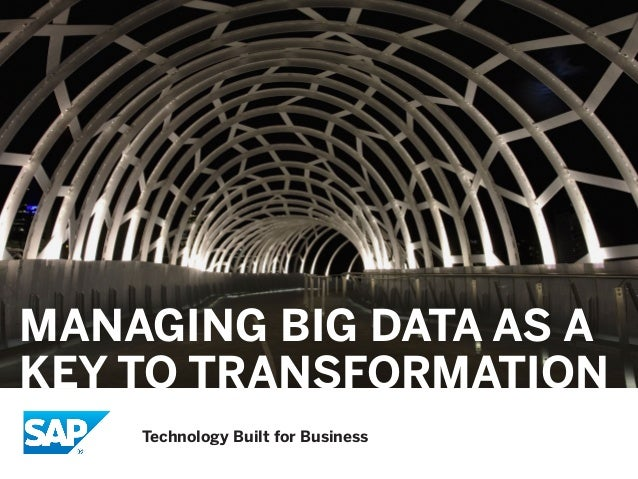 MANAGING BIG DATA AS A KEY TO TRANSFORMATION Technology Built for Business