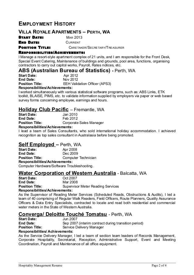 hospitality mgmt resume