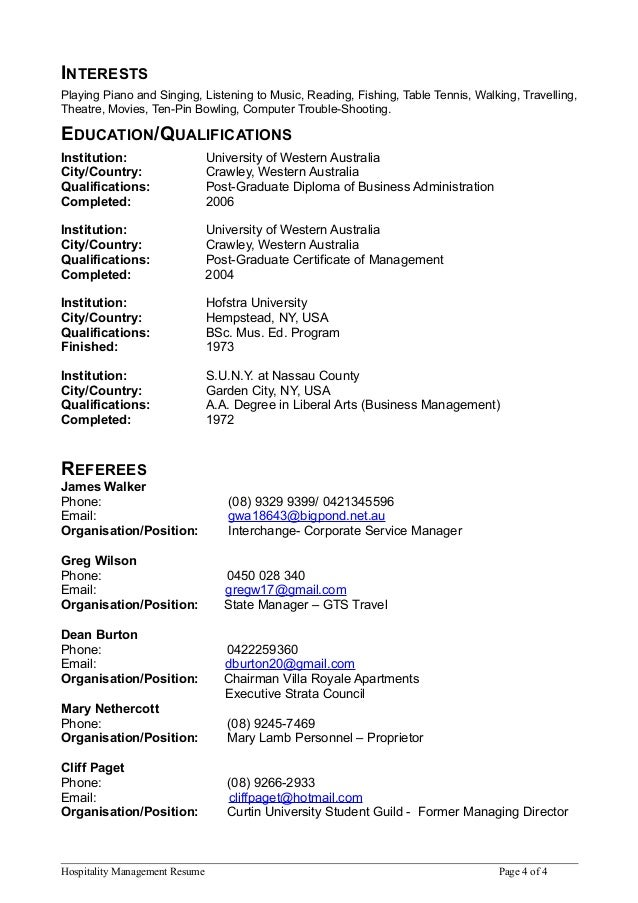 hospitality management resume page 3 of 4 4