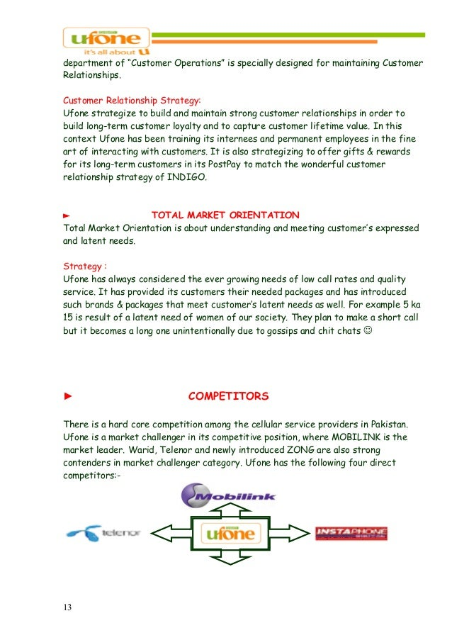marketing strategy of ufone pakistan Marketing executive operations & brand activations at ufone location pakistan industry telecommunications current:  marketing executive operations & brand.