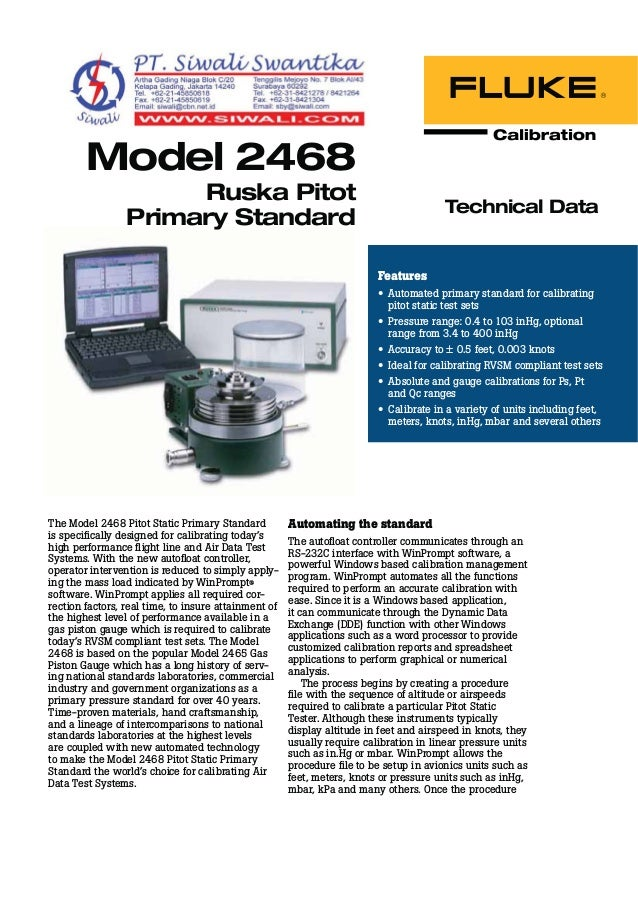 Technical Data 2468 Pitot Primary Standard