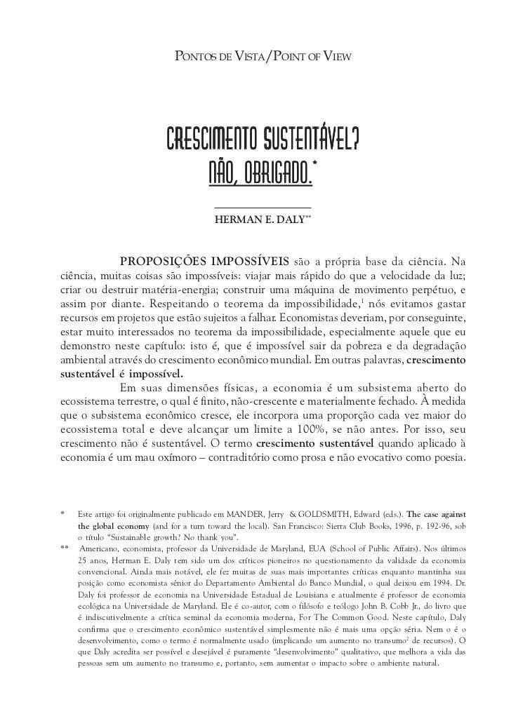 PONTOS DE VISTA/POINT OF VIEW                              CRESCIMENTO SUSTENTÁVEL?                                   NÃO,...