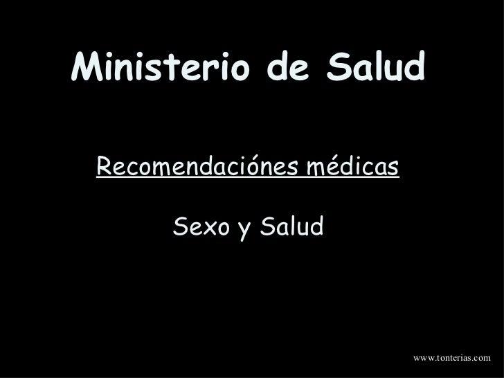 Ministerio de Salud Recomendaciónes médicas Sexo y Salud