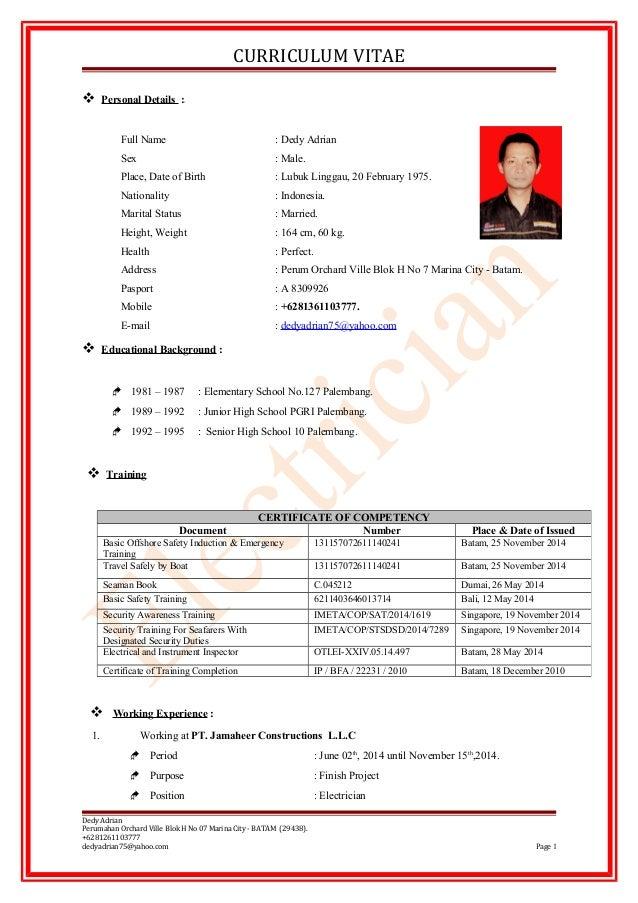 CURRICULUM VITAE  Personal Details : Full Name : Dedy Adrian Sex : Male. Place, Date of Birth : Lubuk Linggau, 20 Februar...