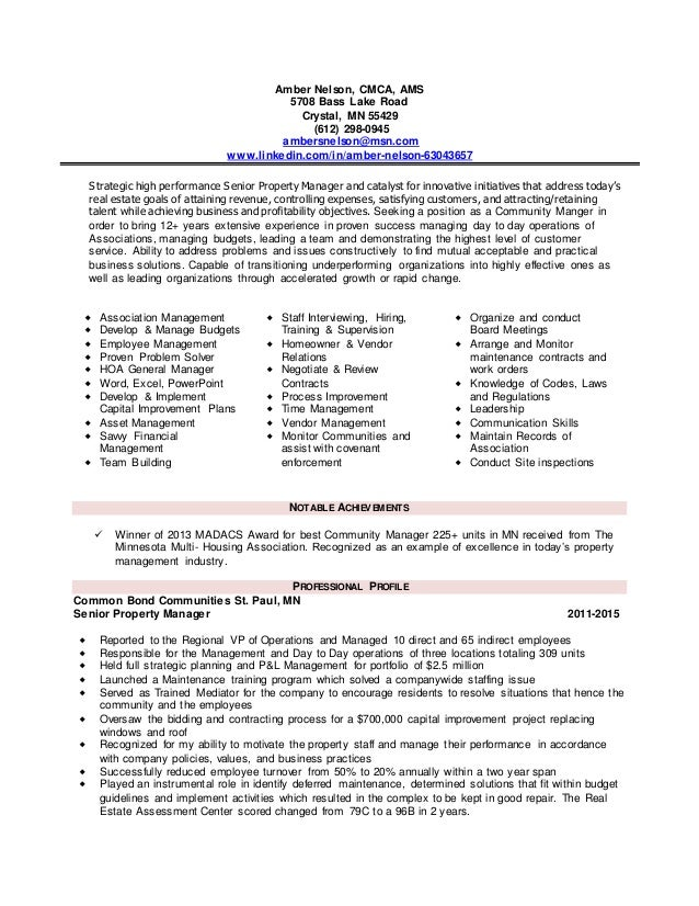 Amber_Nelson_community Manager Resume. Amber Nelson, CMCA, AMS 5708 Bass  Lake Road Crystal, MN 55429 (612 ... In Community Manager Resume