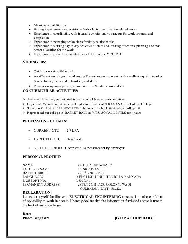 Resume Template for Fresher         Free Word  Excel  PDF Format