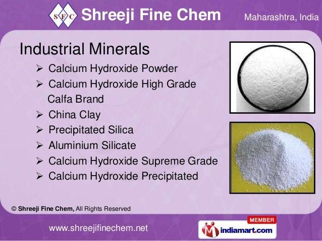Shreeji Fine Chem   Maharashtra, India  Industrial Minerals        Calcium Hydroxide Powder        Calcium Hydroxide Hig...