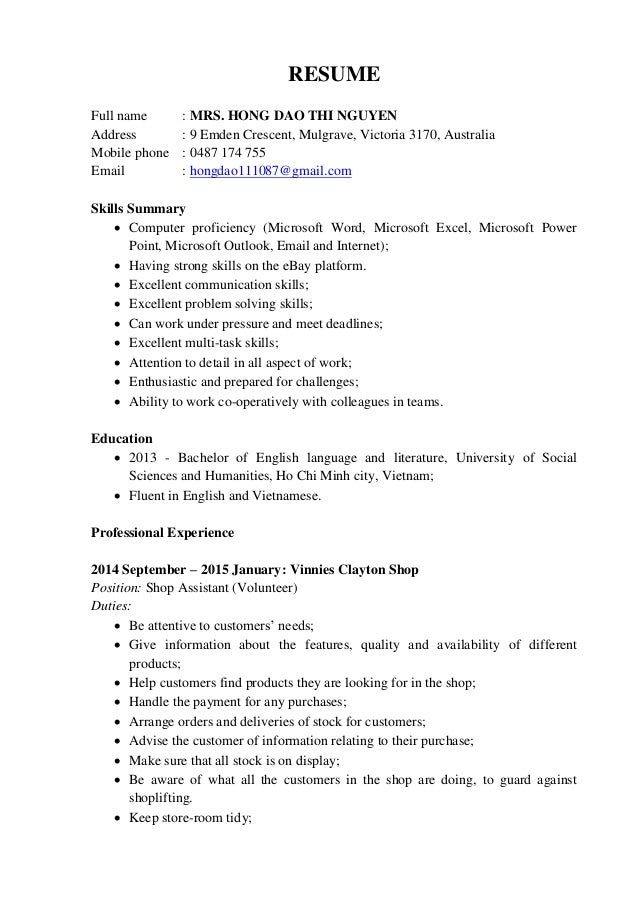 hong dao resume shop assistant online