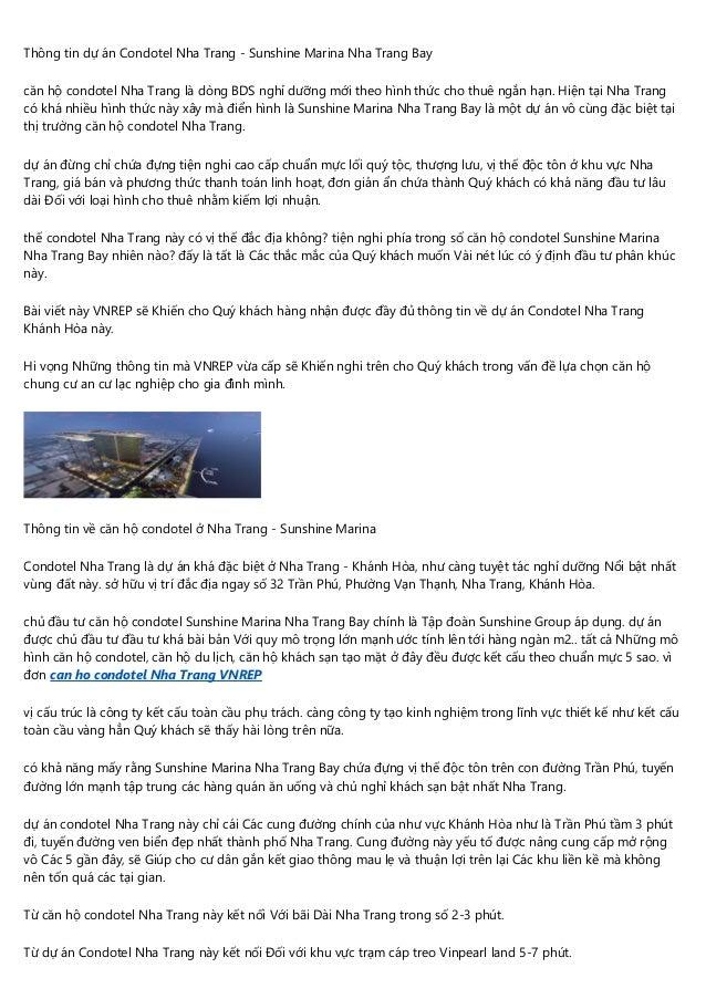 Thông tin dự án Condotel Nha Trang - Sunshine Marina Nha Trang Bay căn hộ condotel Nha Trang là dòng BDS nghỉ dưỡng mới th...