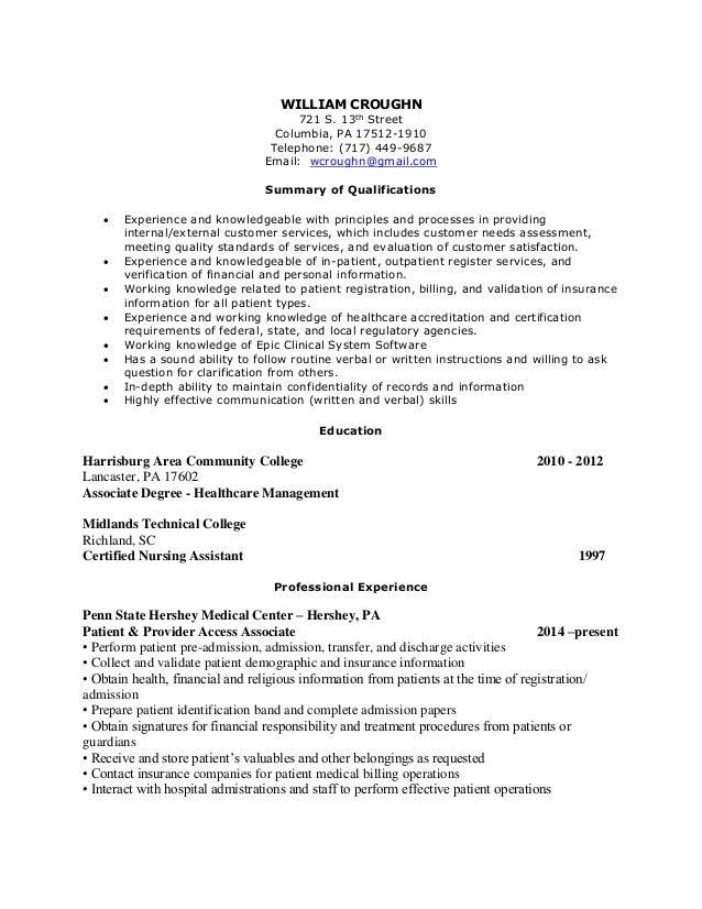 resume william croughn 2014