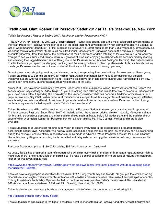 Talia S Passover Seder 2017 Kosher Restaurants New York