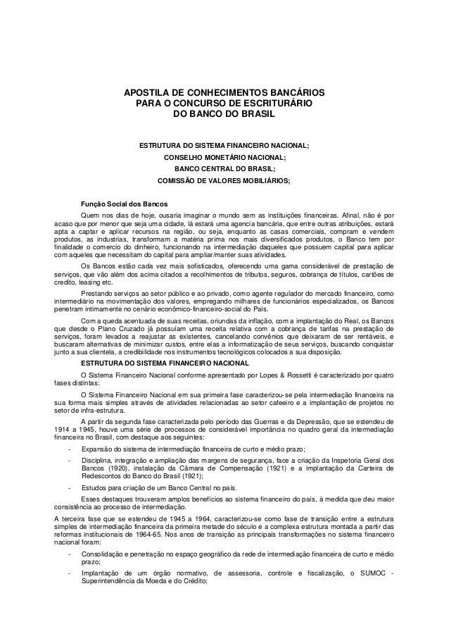 APOSTILA DE CONHECIMENTOS BANCÁRIOS                        PARA O CONCURSO DE ESCRITURÁRIO                               D...