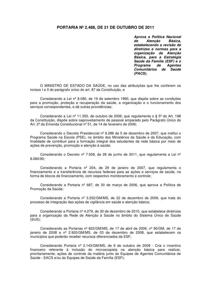 PORTARIA Nº 2.488, DE 21 DE OUTUBRO DE 2011                                                               Aprova a Polític...