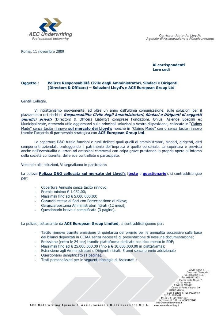 Roma, 11 novembre 2009                                                                                   Ai corrispondenti...