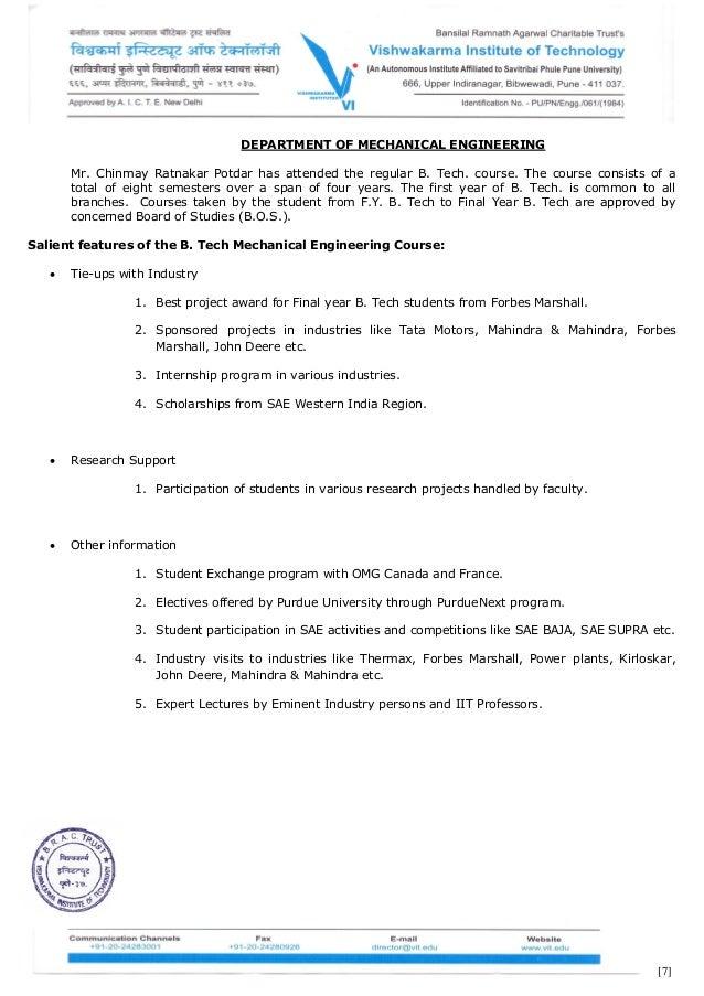 Chinmay potdar undergraduate transcripts for Internship for mechanical engineering students in tata motors