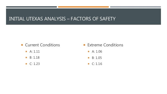 INITIAL UTEXAS ANALYSIS – FACTORS OF SAFETY  Current Conditions  A: 1.11  B: 1.18  C: 1.23  Extreme Conditions  A: 1...