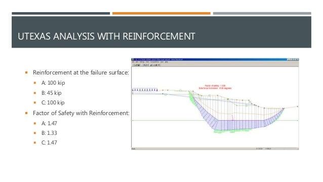 UTEXAS ANALYSIS WITH REINFORCEMENT  Reinforcement at the failure surface:  A: 100 kip  B: 45 kip  C: 100 kip  Factor ...