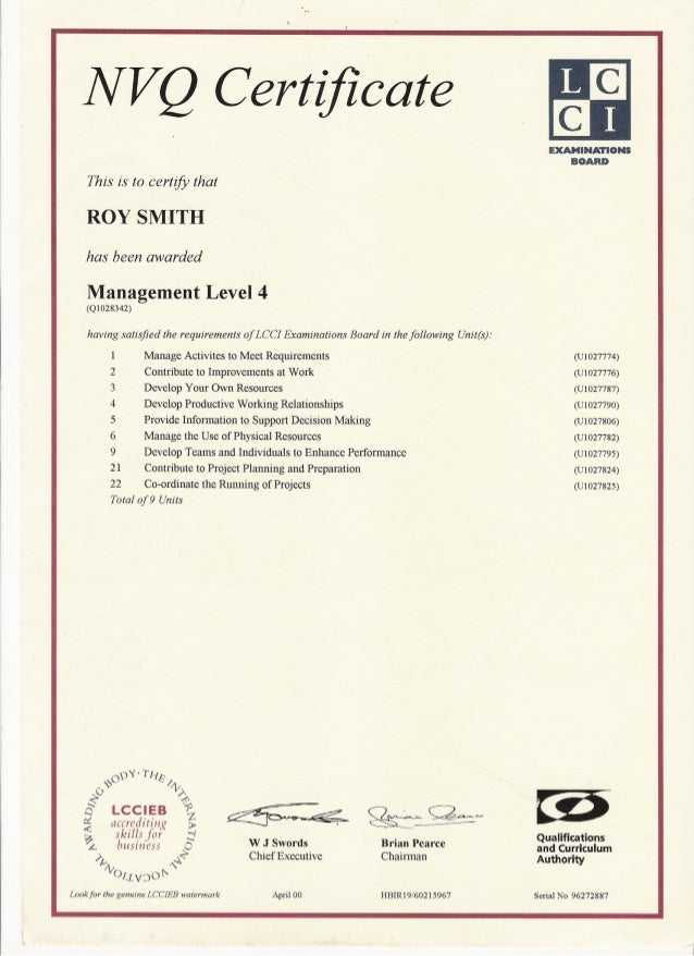 NVQ Level 4 Results