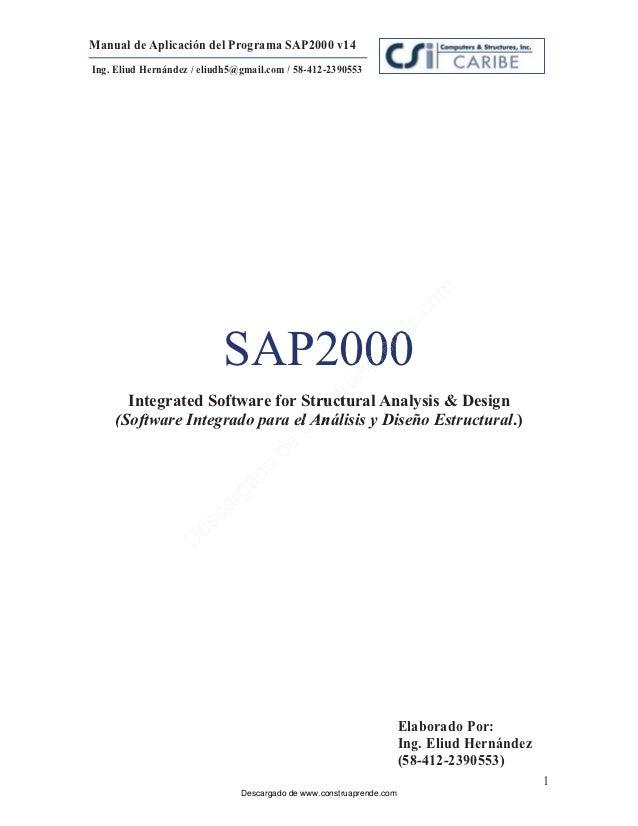 24965846 sap 2000 v14 manual espanol rh es slideshare net manual sap2000 v15 portugues manual sap2000 v15 pdf
