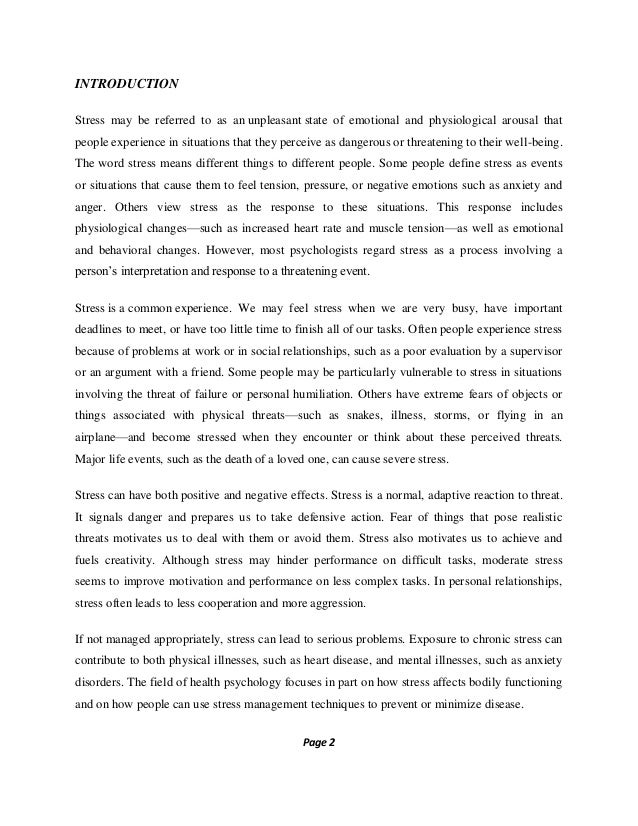 stress management research paper pdf