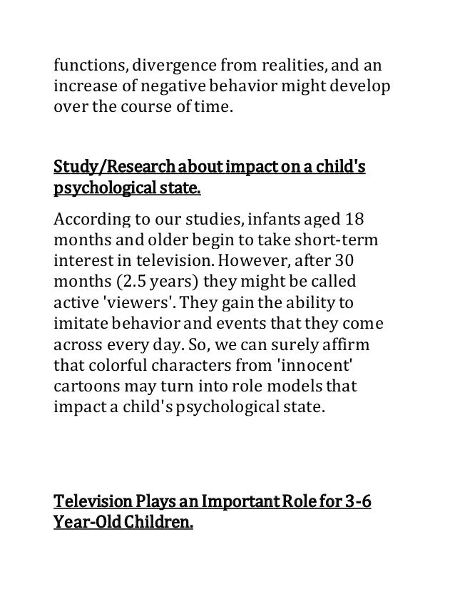the effects of adult cartoons on childrens behavior Impact of cartoons on children's behavior television programs that are targeted towards children, such as cartoons, can affect children in both positive and negative ways i examined a variety of cartoons on both commercial and public television to observe the content of children's programming and determine the effects, both positive and .