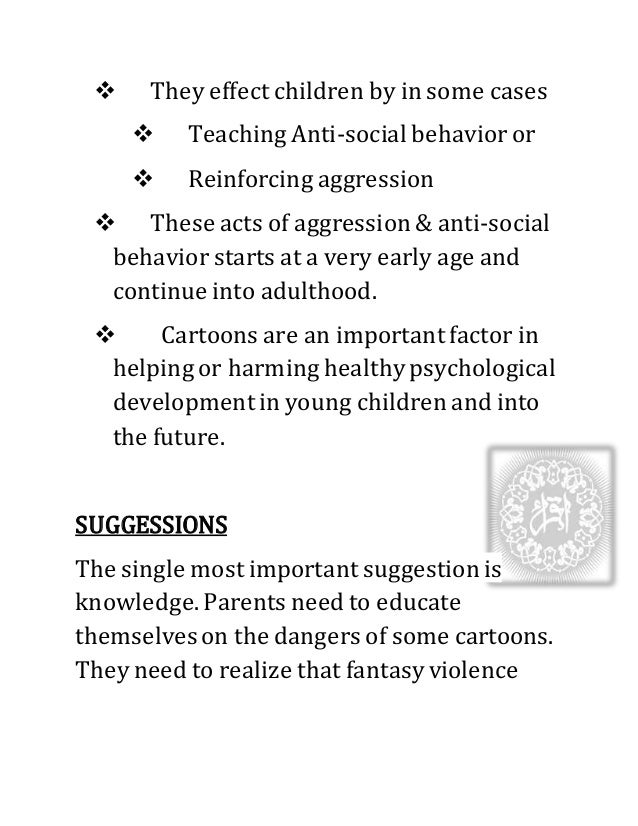 an analysis of the impact of television programs on development of aggression in children Studies in the us show that by the age of three, children have become purposeful tv viewers, meaning that they have established patterns of favorite programs and viewing times various surveys have shown that most children watch tv from fourteen to forty-nine hours a week, depending on age and socio-economic level.