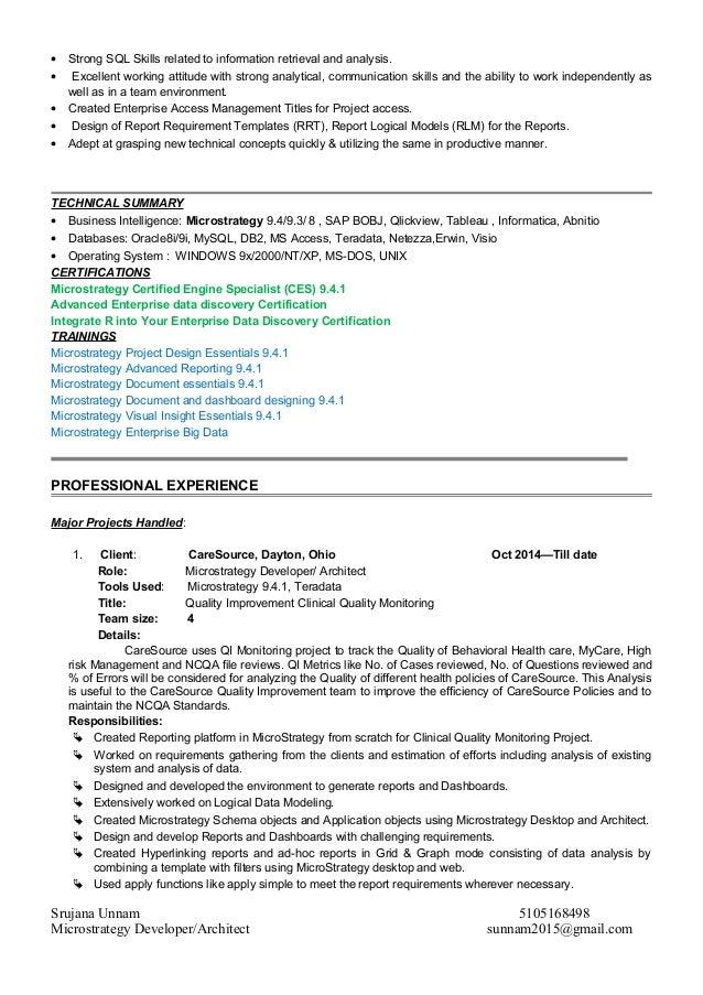 Srujana Unnam Microstrategy Profile