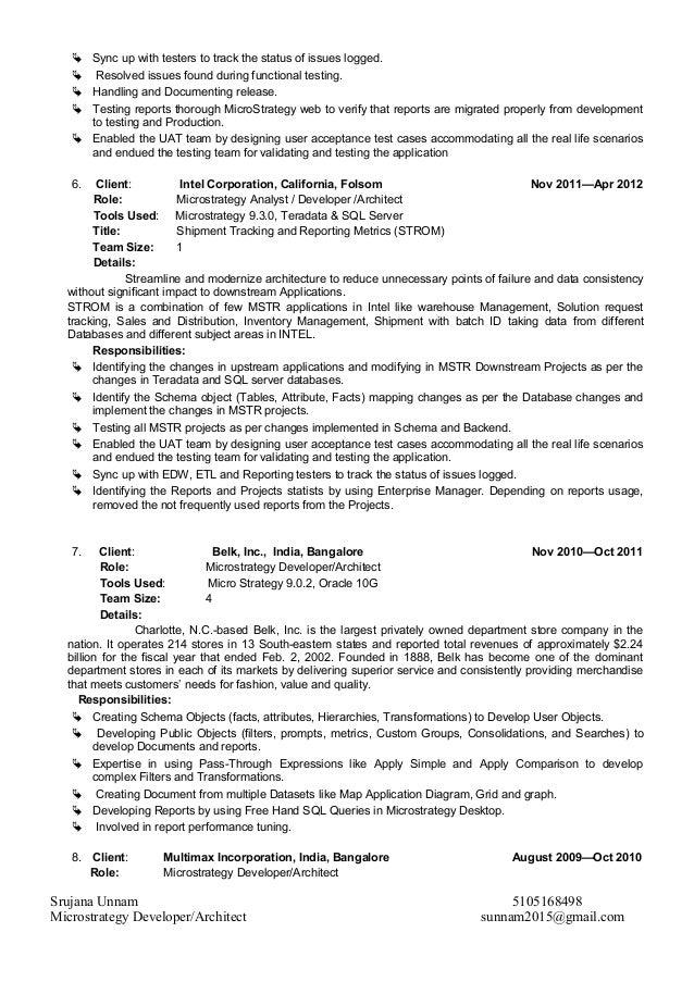 Exceptional Resume Sample Resume Microstrategy Developer Microstrategy Developer Resume  Dalarcon Com Srujana Unnam Profile