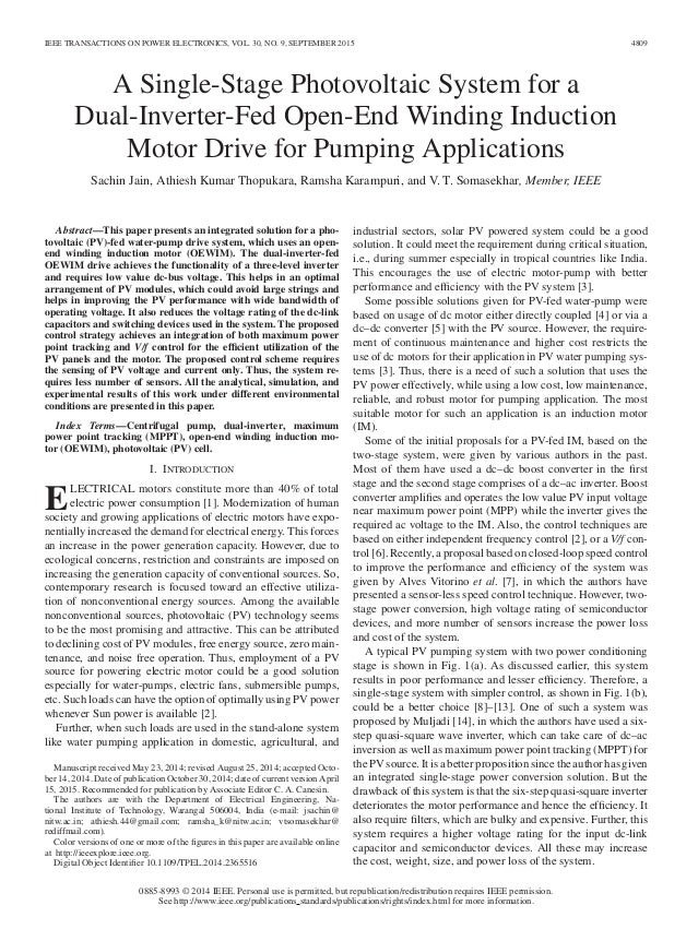 IEEE TRANSACTIONS ON POWER ELECTRONICS, VOL. 30, NO. 9, SEPTEMBER 2015 4809 A Single-Stage Photovoltaic System for a Dual-...