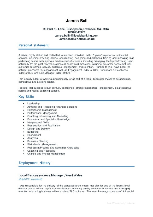 Basic CV Template By Reed.co.uk James Ball 33 Pwll Du Lane, ...  Internal Resume Template