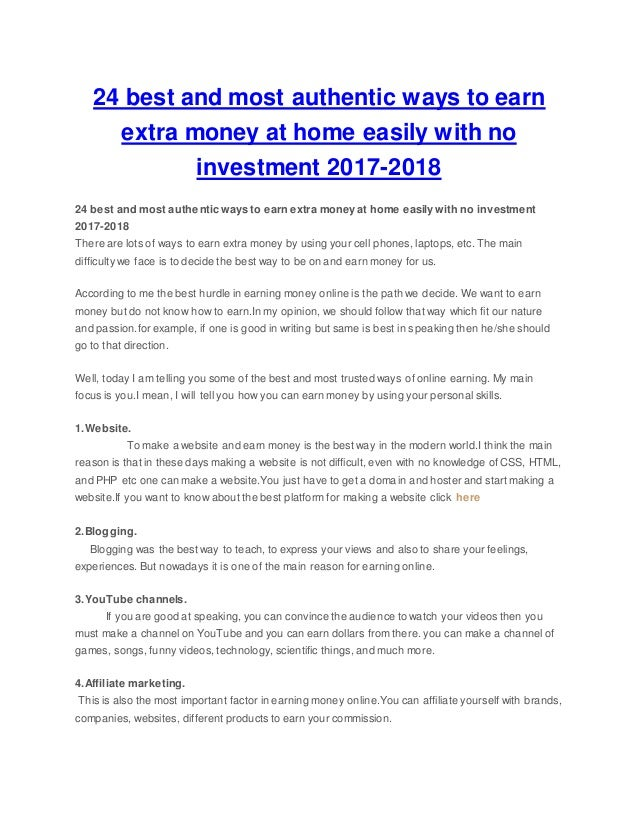 24 best and most authentic ways to earn extra money at home easily wi…