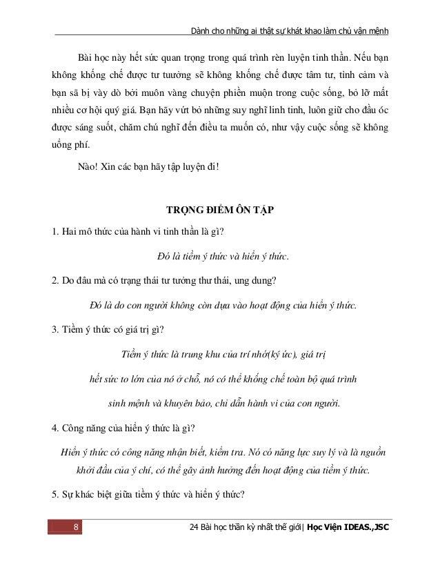 Dành cho những ai thật sự khát khao làm chủ vận mệnh 8 24 Bài học thần kỳ nhất thế giới| Học Viện IDEAS.,JSC Bài học này h...