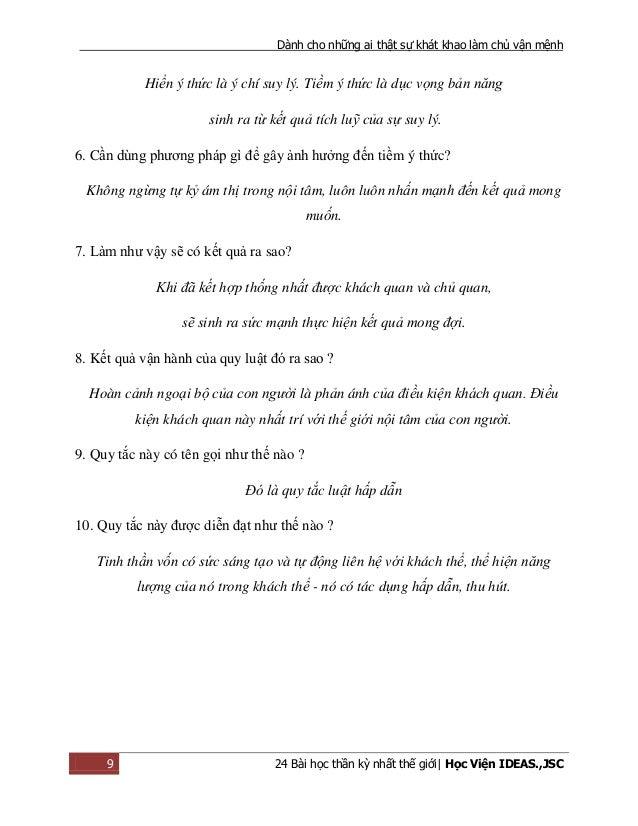 Dành cho những ai thật sự khát khao làm chủ vận mệnh 9 24 Bài học thần kỳ nhất thế giới| Học Viện IDEAS.,JSC Hiển ý thức l...