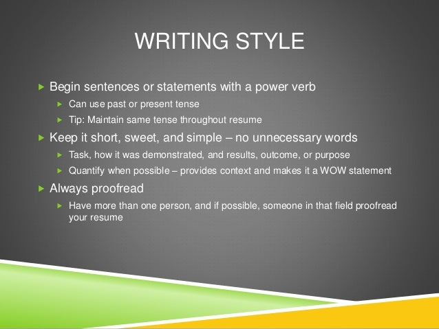 use present tense in resume