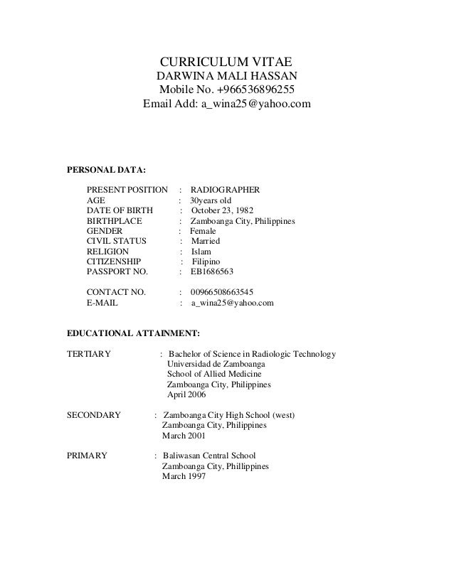 MY CV – Radiographer Resume