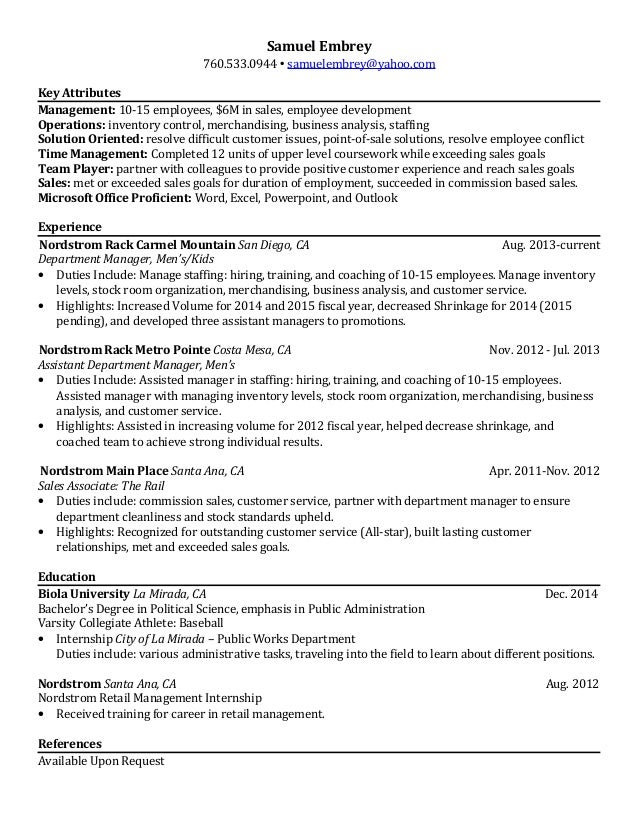 Samuel Embrey Resume