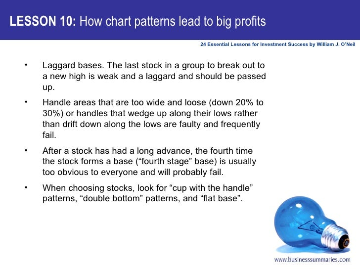 LESSON 10:  How chart patterns lead to big profits <ul><li>Laggard bases. The last stock in a group to break out to a new ...
